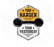 Push harder than yesterday Gym motivational print with grunge ef stock illustration