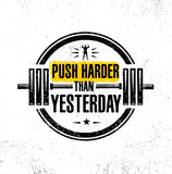 Push Harder Than Yesterday. Sport Inspiring Workout and Fitness Gym Motivation Quote Illustration. Creative Strong Vector Rough Typography Grunge Wallpaper stock illustration