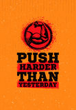 Push Harder Than Yesterday Workout and Fitness Sport Motivation Quote.. Concept With Bicep Sign Stock Photos