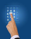 Push keypad. Image of hand push button number five on keypad Royalty Free Stock Photos