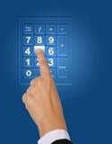 Push keypad. Image of hand push button number five on keypad royalty free stock photos