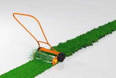 A push lawn mower is working. An orange push lawn mower is cutting the grass along a straight strip of green lawn on a white background Royalty Free Stock Photos