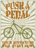 Push a pedal. Vintage style vector poster with a mountain bike silhouette and advice - push a pedal royalty free illustration