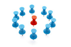 Push pin 16. Close up of red and blue push pins on white background with clipping path royalty free stock photography