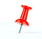 Push pin. Red push pin isolated on white background Royalty Free Stock Photo