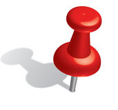 Push pin. 3d red push pin. Vector stock illustration