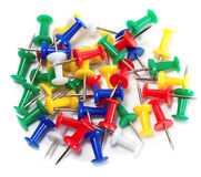 Push-pin. Color push-pin thumbtack tool office  on white background Stock Image