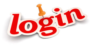 Push Pin And Login (clipping Path Included) Stock Images