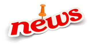 Push Pin And News (clipping Path Included) Royalty Free Stock Photos