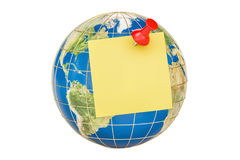 Push pin with blank yellow sticky note on globe, 3D rendering Stock Image