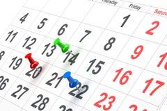 Push pin in calendar Royalty Free Stock Photos