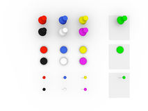 Push pin collection Royalty Free Stock Photo