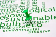Push pin on ecology word cloud Royalty Free Stock Photo
