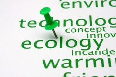 Push pin on ecology word cloud Stock Images