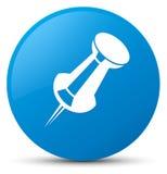 Push pin icon cyan blue round button Royalty Free Stock Image