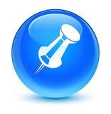 Push pin icon glassy cyan blue round button Stock Photo