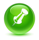 Push pin icon glassy green round button Stock Photo