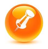Push pin icon glassy orange round button Stock Image