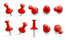 Free Push Pin In Different Angles. Red Thumbtack For Attachment. Pushpins With Metal Needle And Red Head Isolated Vector Set Royalty Free Stock Photography - 131986767