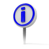 Push pin with INFO sign. Stock Images