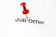 Push pin on job offer Stock Image