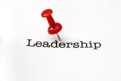 Push pin on leadership text Royalty Free Stock Photo