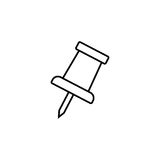Push pin line icon, office and school sign Royalty Free Stock Photos