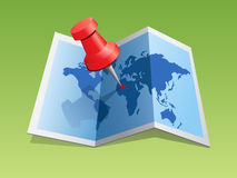 Push pin in a map. Illustration of a push red pin in map royalty free illustration