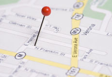 Push Pin in Map Stock Photography