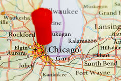 Push pin in map of Chicago Stock Photography