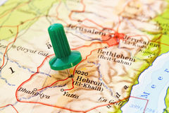 Push pin in map of Hebron Royalty Free Stock Photography