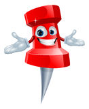 Push pin office supply mascot Stock Photography