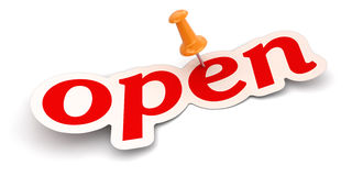 Push Pin and Open (clipping path included) Stock Image