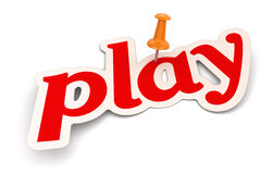 Push Pin and play (clipping path included) Royalty Free Stock Photography