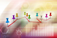 Push pin  pointing the  graph Royalty Free Stock Images