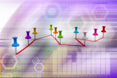Push pin  pointing the  graph Stock Photos