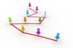 Push pin  pointing the  graph Royalty Free Stock Photos