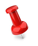 Push pin. Red push pin sticking in white surface stock illustration