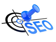 Push pin with SEO target. SEO target concept - thumbtack placed in the target center Stock Image