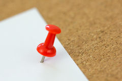 Push pin On sticky paper Royalty Free Stock Photo