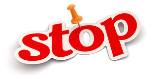 Push Pin and stop (clipping path included) Royalty Free Stock Photo
