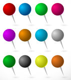 Push pin, thumbtack set with sphere heads. Several colors. Stock Photo
