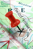 Push Pin on Topographical Treasure Map Royalty Free Stock Photography