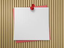 Push pin on white note. 3D. Rendering Stock Photography