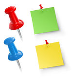 Push pins. With note papers vector illustration