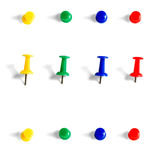 Push pins. Collection objects isolated on white background stock photography