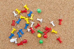 Push pins. On the corkboards Stock Photos