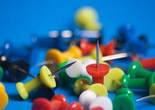 Push pins. Colorful push pins close up royalty free stock images