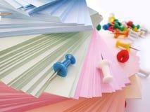 Push Pins and colorful sheets Royalty Free Stock Photography