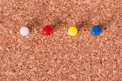 Push Pins on Cork Board Royalty Free Stock Image